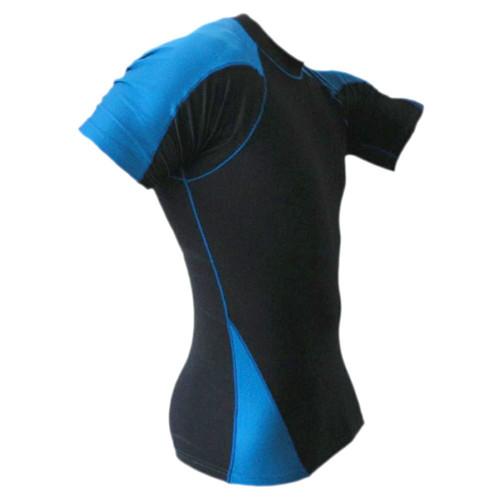 Short Sleeve Blue and Black Rash Guard