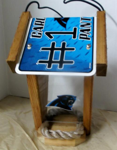 Carolina Panthers #1 Fan License Plate Roof Bird Feeder
