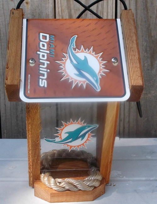 Miami Dolphins License Plate Roof Bird Feeder