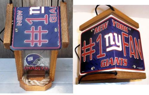 New York Giants #1 Fan License Plate Roof Bird Feeder