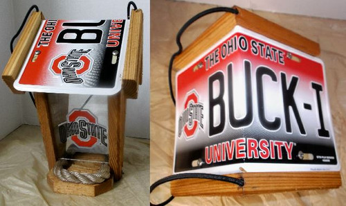 Ohio State License Plate Roof Bird Feeder
