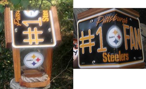 Pittsburgh Steelers #1 Fan License Plate Roof Bird Feeder