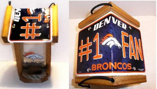 Denver Broncos  #1 Fan License Plate Roof Bird Feeder