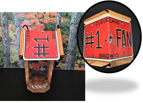 Cleveland Browns #1 Fan License Plate Roof Bird Feeder