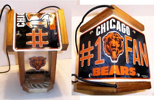 Chicago Bears #1 Fan License Plate Roof Bird Feeder