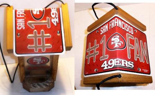 San Francisco 49ers #1 Fan License Plate Roof Bird Feeder