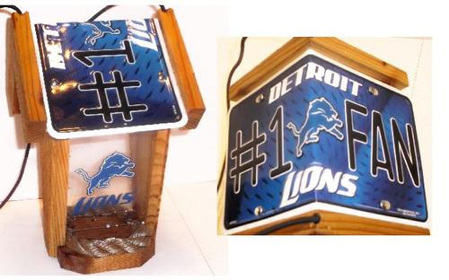 Detroit Lions #1 Fan License Plate Roof Bird Feeder