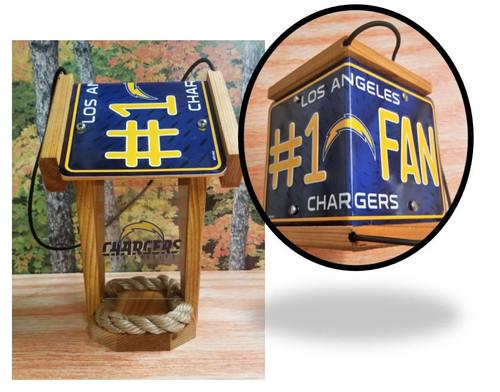 LA Chargers #1 Fan License Plate Roof Bird Feeder