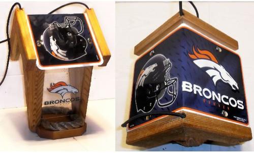 Denver Broncos License Plate Roof Bird Feeder