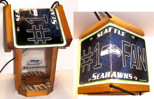 Seattle Seahawks #1 Fan License Plate Roof Bird Feeder