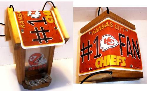 Kansas City Chiefs #1 Fan License Plate Roof Bird Feeder