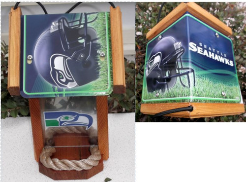 Seattle Seahawks License Plate Roof Bird Feeder (NW Style)