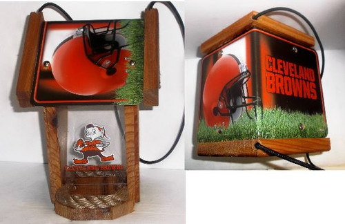 Cleveland Browns License Plate Roof Bird Feeder