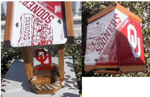 Oklahoma Sooners License Plate Roof Bird Feeder (SI Series)