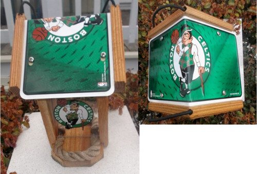 Boston Celtics License Plate Roof Bird Feeder