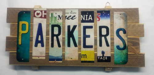 Personalized Cut License Plate Strips Sign