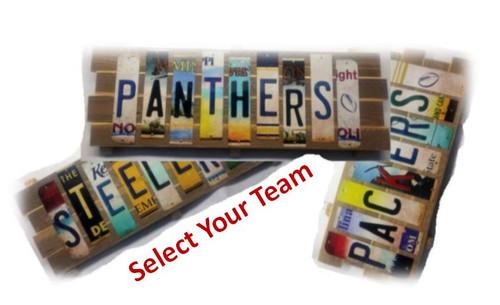 NFL Team Cut License Plate Strip Signs