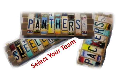NFL Team Cut License Plate Strip Signs