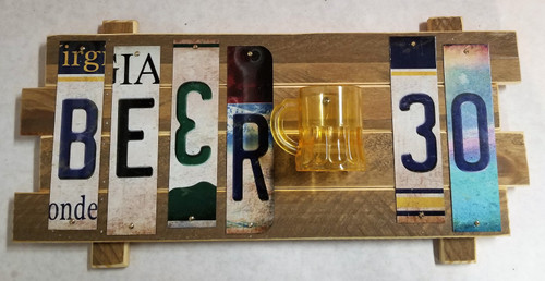 Beer 30 Cut Strip Sign with mug