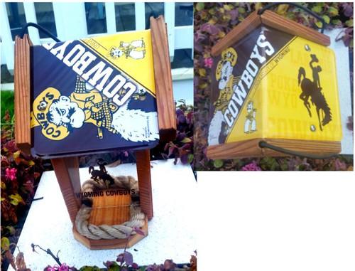 Wyoming Cowboys License Plate Roof Bird Feeder  (SI series)