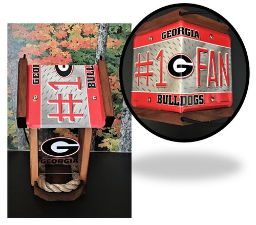 Georgia Bulldogs #1 Fan License Plate Roof Bird Feeder