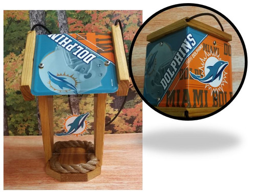 Miami Dolphins License Plate Roof Bird Feeder (SI Series)