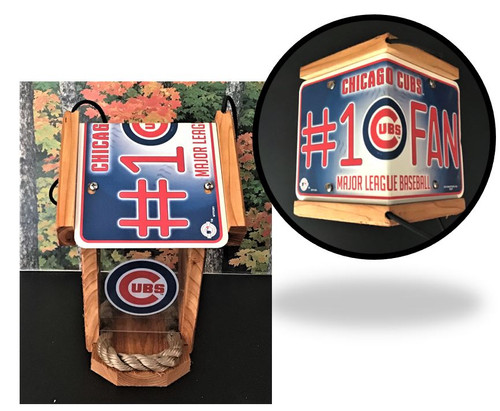 Chicago Cubs #1 Fan Cedar Bird Feeder