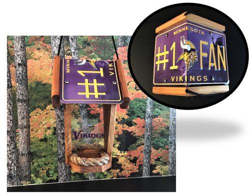 Minnesota Vikings #1 Fan License Plate Roof Bird Feeder