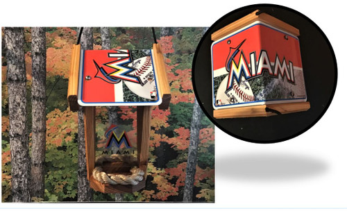 Miami Marlins License Plate Roof Bird Feeder