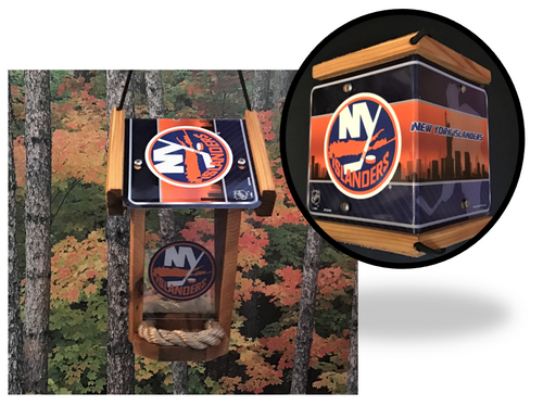 NY Islanders License Plate Roof Bird Feeder