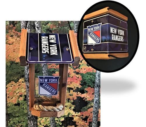 NY Rangers License Plate Roof Bird Feeder