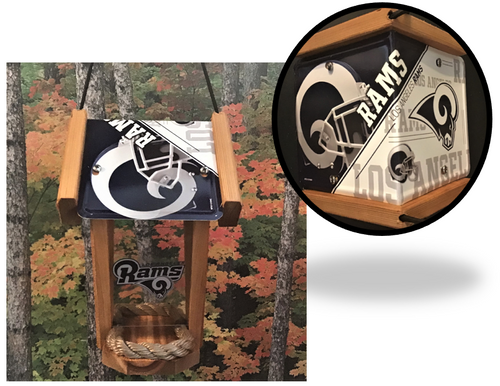 LA Rams License Plate Roof  Cedar Bird Feeder (SI Series)