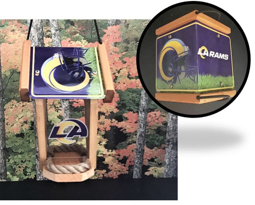 LA Rams License Plate Roof  Cedar Bird Feeder