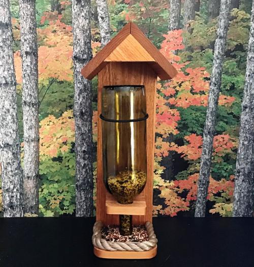 Wine Bottle Cedar Bird Feeder