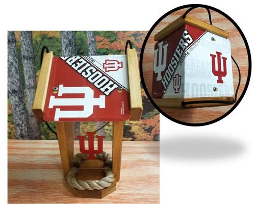 Indiana Hoosiers License Plate Roof  Cedar Bird Feeder