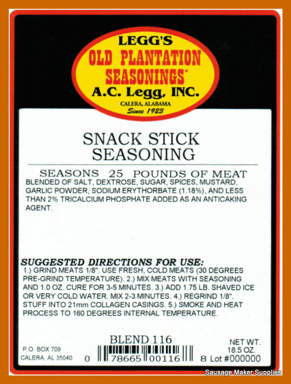 Snack Stick  Blend 116  A perfect blend of spices that includes mustard and garlic for a flavor sure to please.