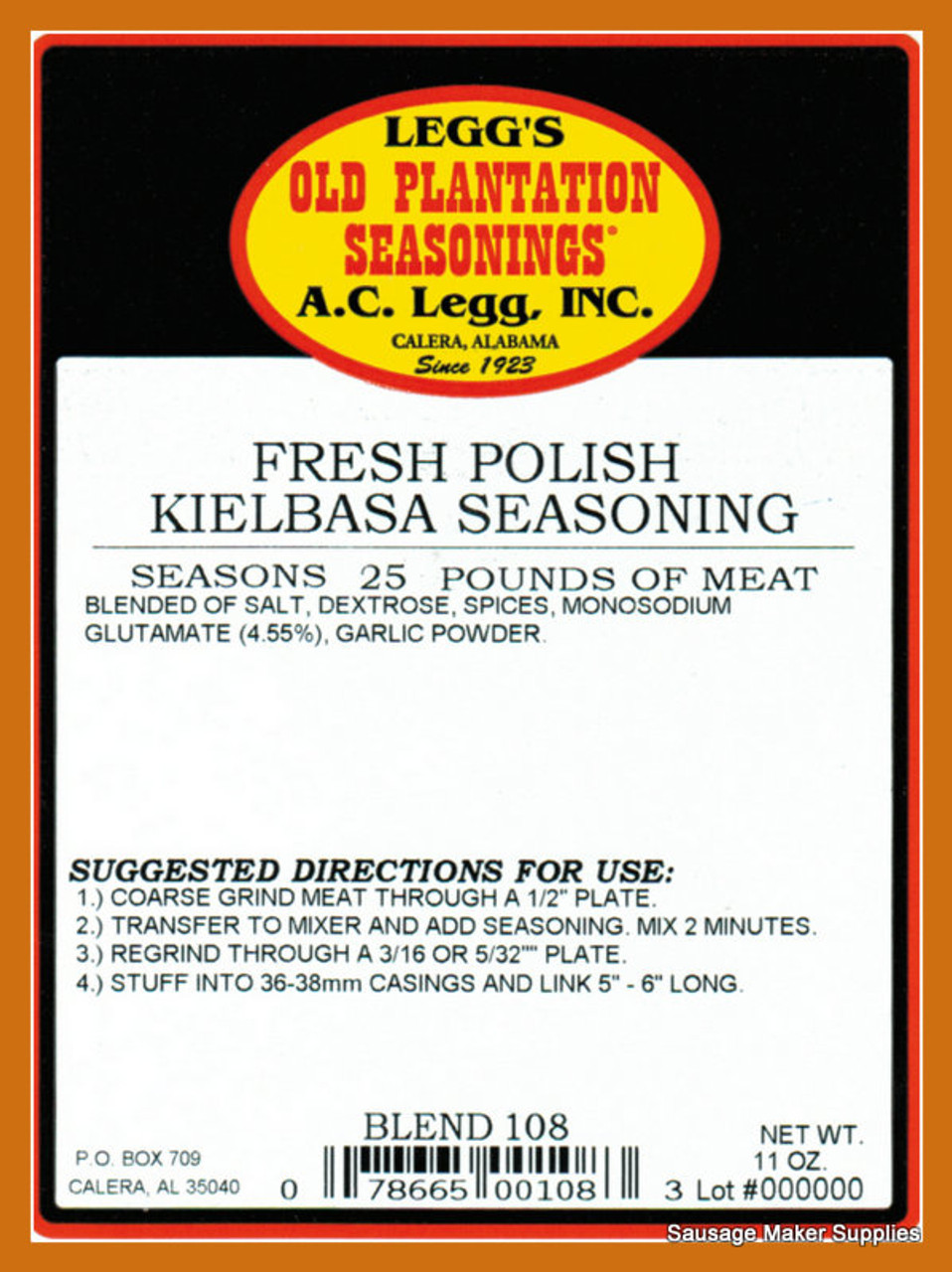 FRESH POLISH KIELBASA Blend 108  Contains the same spice blend as our Smoked Polish Kielbasa seasoning.