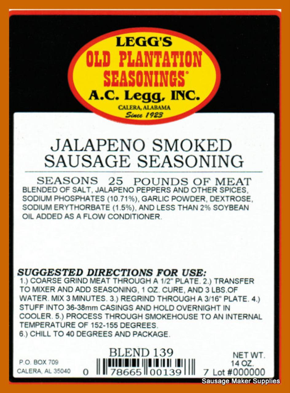 A.C. LEGG OLD PLANTATION Jalapeño Smoked Sausage Blend 139