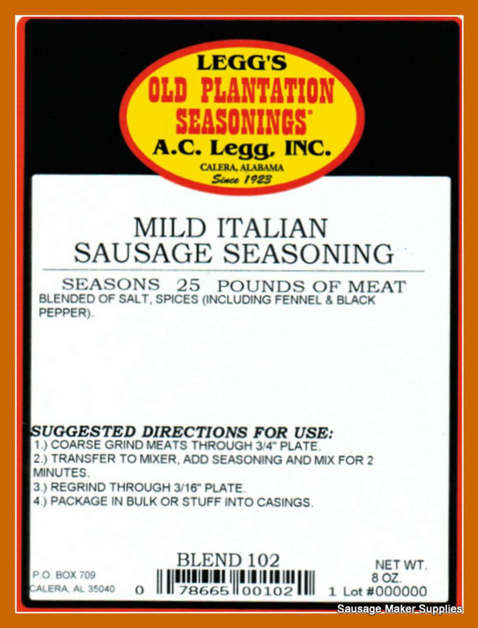 A.C. LEGG OLD PLANTATION MILD ITALIAN SAUSAGE Blend 102