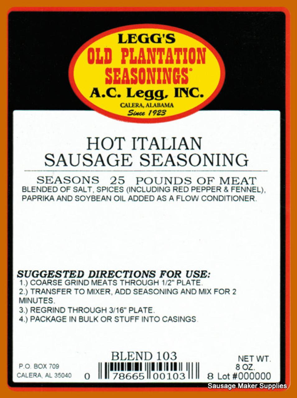 A.C.LEGG OLD PLANTATION Hot Italian Sausage Seasoning Blend 103