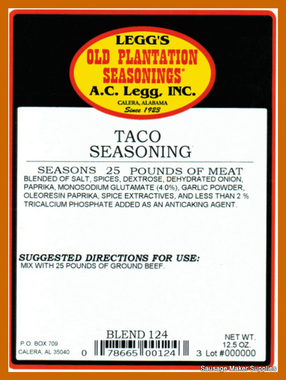 A.C. LEGGS OLD PLANTATION Taco Seasoning Blend 124