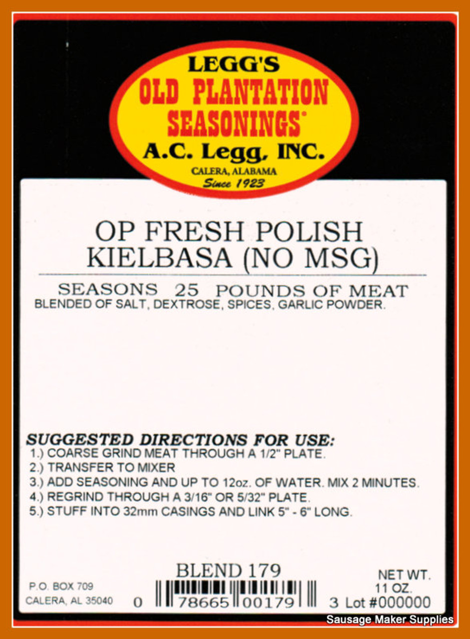 Fresh Polish Kielbasa (No MSG) Blend # 179