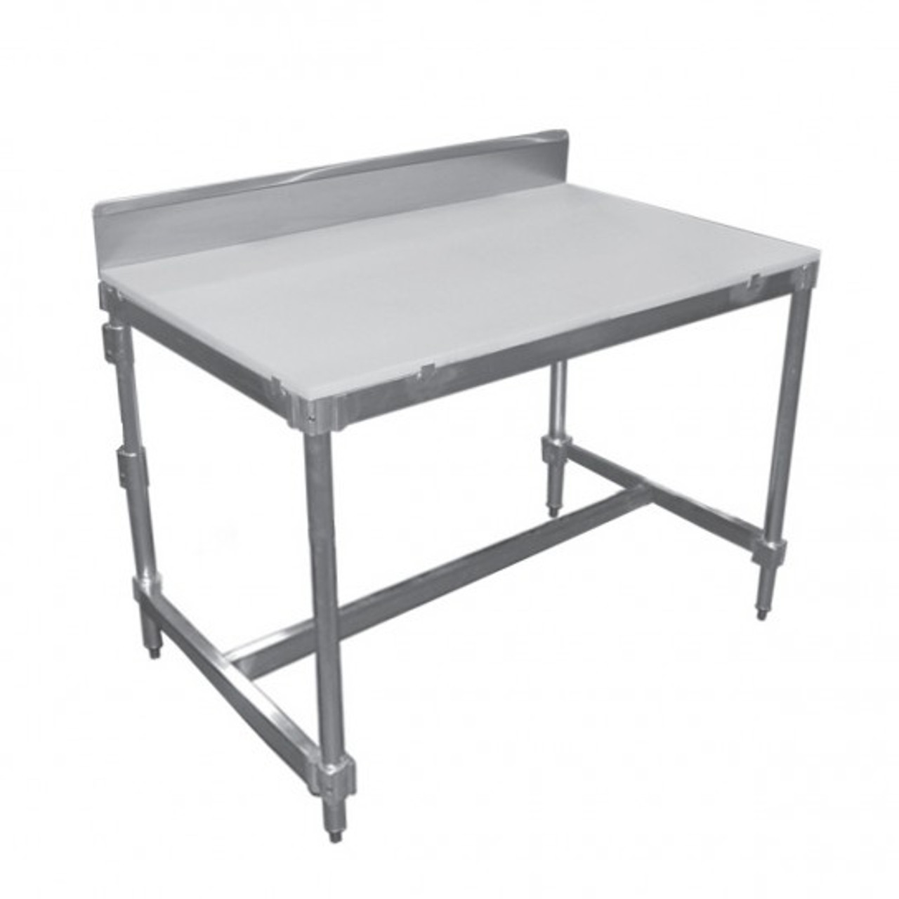 """Poly Top Tables with Stainless Steel Backsplash Item length 60"""""""