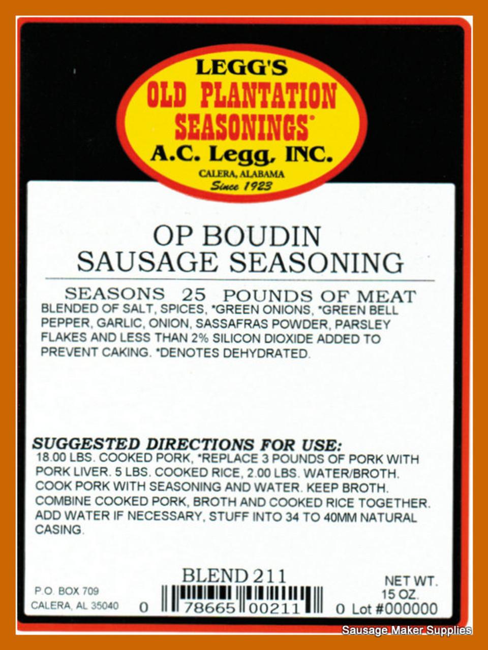 Boudin Sausage Seasoning Blend 211