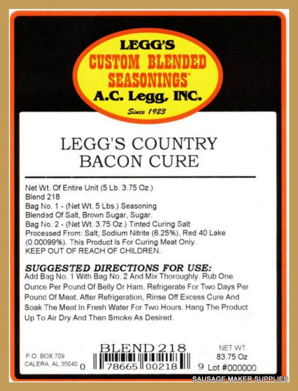 """LEGG'S COUNTRY BACON CURE* The ultimate blend to make """"old fashion"""" bacon, hams, and any dry cured meat product-as if it came from the farm."""
