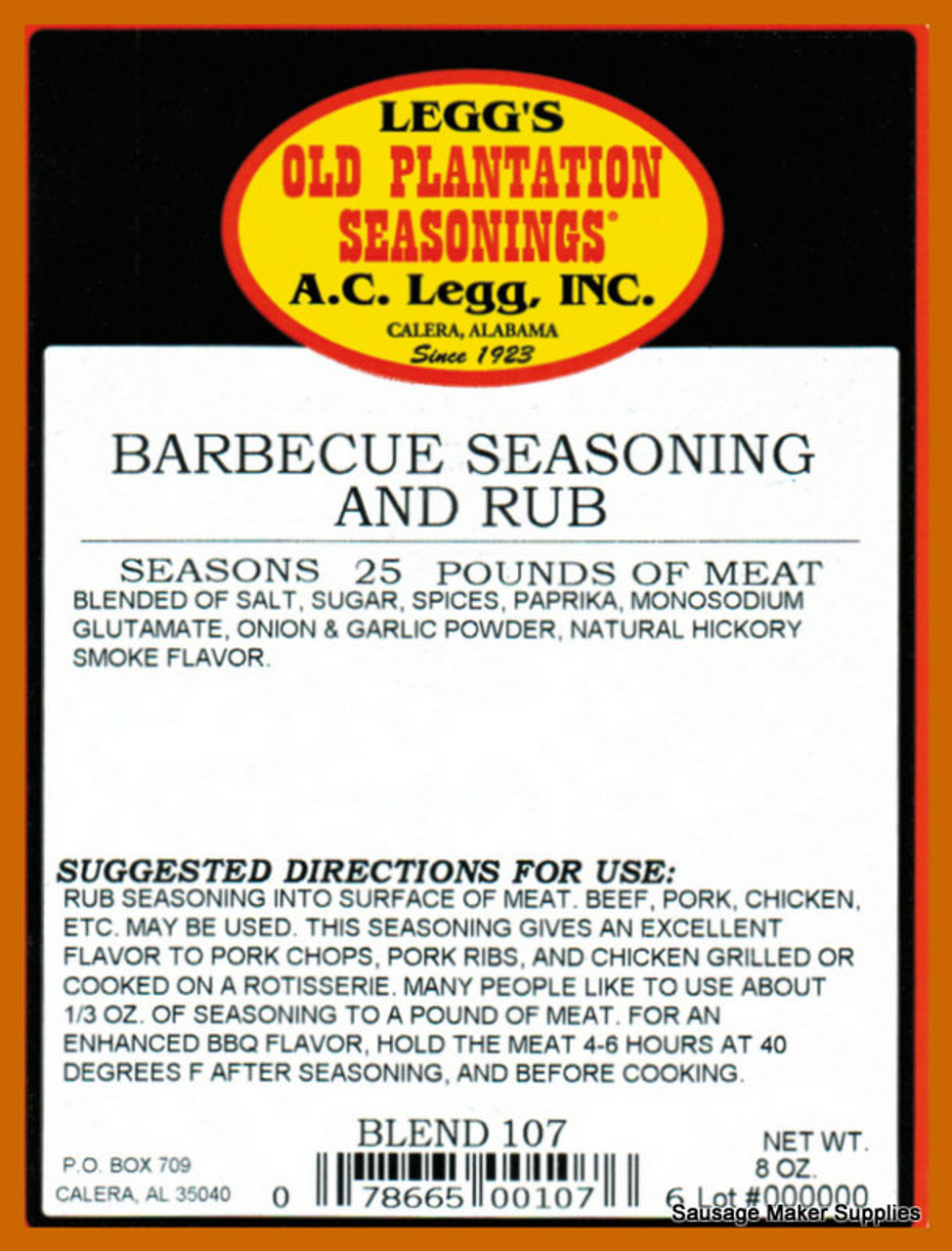 A.C. LEGG OLD PLANTATION BLEND 107 This blend of seasonings can be either sprinkled on meat after it is cooked, or used ahead of cooking as a marinade.