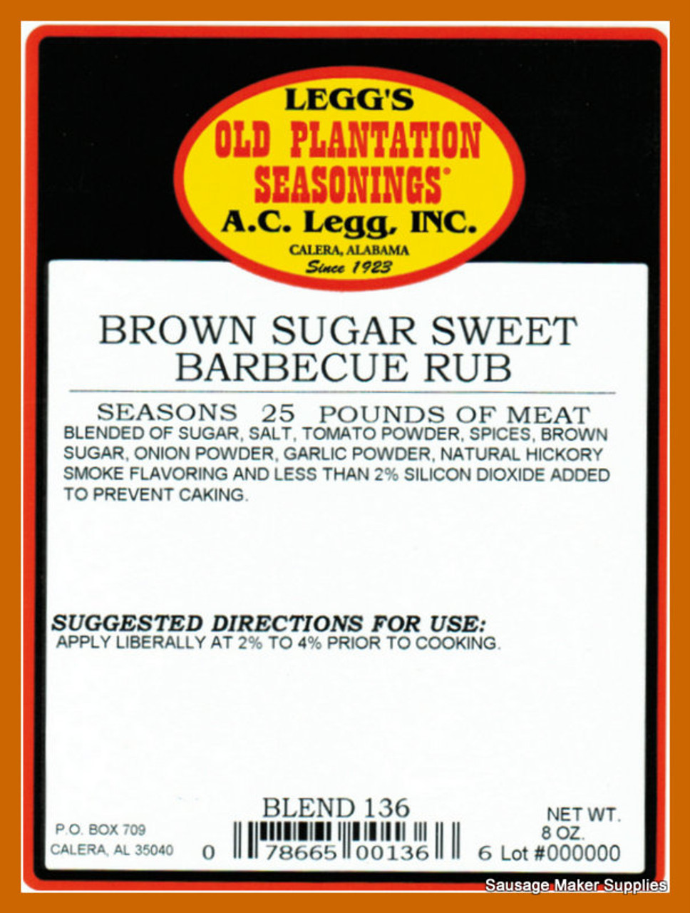 Brown Sugar BBQ  Blend 136  This rub will remind you of a St. Louis, Memphis, and Southern Barbecue all in one package. Sweet with a nice balance of onion, tomato, and smoke.