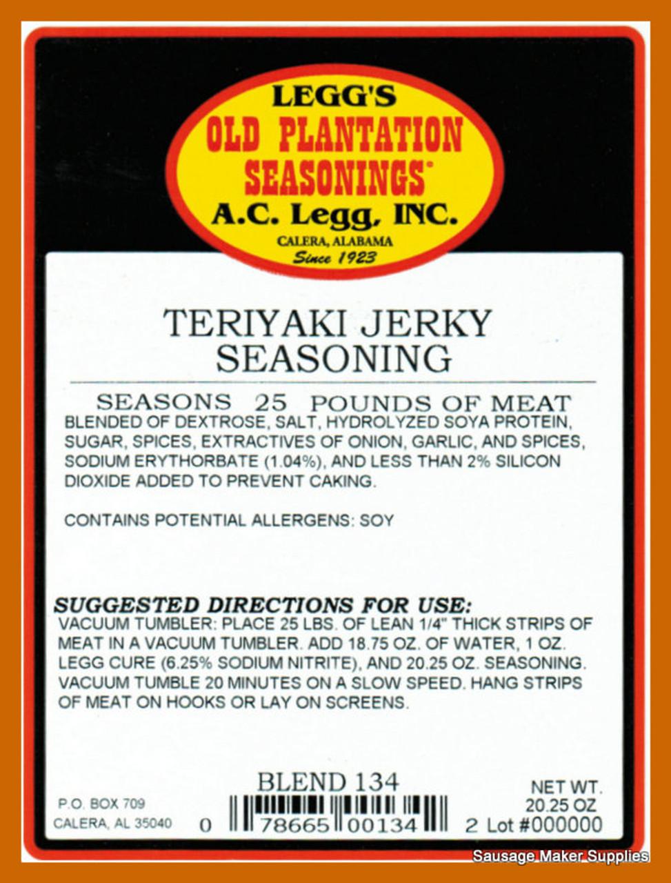 Teriyaki Jerky Seasoning  Blend 134  Increasingly popular blend for jerky.
