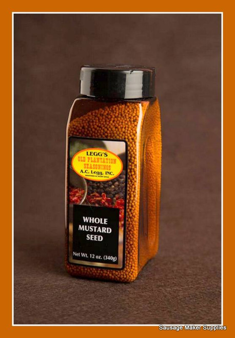 Legg's Whole Mustard Seed  Fresh and sharp - mustard seed is generally characterized by a clean fresh aroma and a pungent, slightly biting flavor. •12 oz. bottle  •Screw lid has reclosable flap over shaker holes & spoon opening
