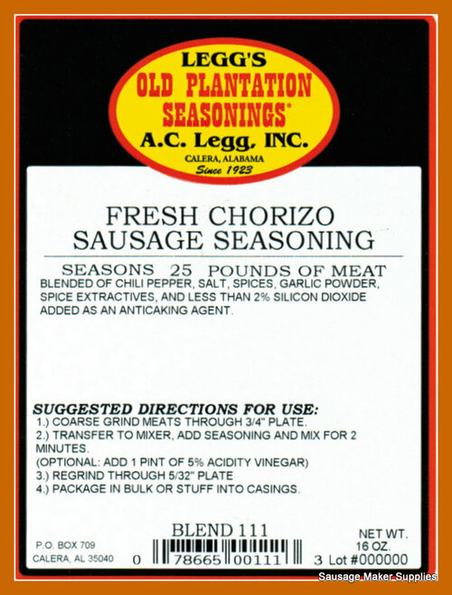FRESH CHORIZO Blend 111  An ethnic sausage seasoning used to produce a chorizo with full flavor, but not too hot.